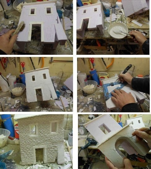 costruzione case presepi con tecnica mista